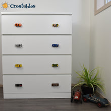 Load image into Gallery viewer, Four drawer dresser with a variety of hot wheels car drawer knobs. Two per drawer
