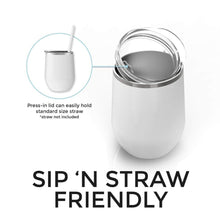 Load image into Gallery viewer, Tumbler shown with lid that is sip and straw friendly
