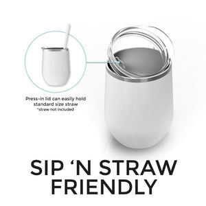 Tumbler shown with lid that is sip and straw friendly