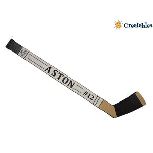 Hockey stick sign that says Aston #12