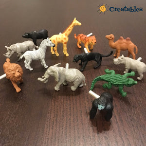 Set of 12 wild animal drawer knobs scattered