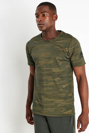 Adidas FreeLift Camo Tee - Tech Olive image 1 - The Sports Edit