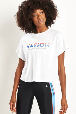 PE Nation Point Flag Tee - White image 1 - The Sports Edit