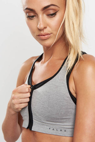 Falke Versatility High Support Zip Bra - Grey image 1 - The Sports Edit