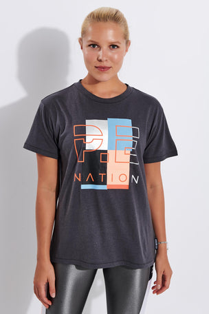 PE Nation Point Race Tee - Charcoal image 1 - The Sports Edit