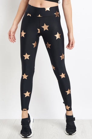 Terez Rose Gold Big Star Foil Printed Tall Band Leggings image 1 - The Sports Edit