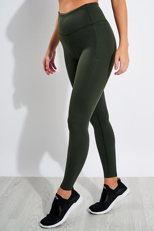 Under Armour Meridian Pocket Leggings - Baroque Green/Metallic Silver image 1 - The Sports Edit
