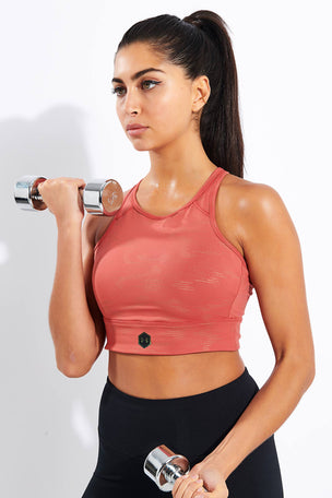 Under Armour Rush Metallic Sports Bra - Fractal Pink image 1 - The Sports Edit