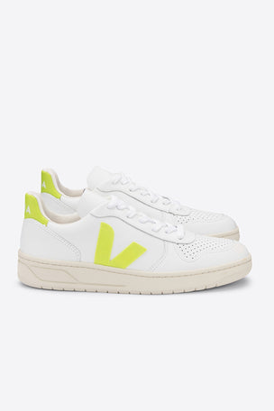 Veja V-10 Leather - White Jaune Fluo | Women's image 3 - The Sports Edit