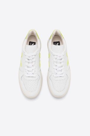 Veja V-10 Leather - White Jaune Fluo | Women's image 2 - The Sports Edit