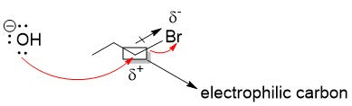 how electronegativity affects what atom is attacked by a nucleophile
