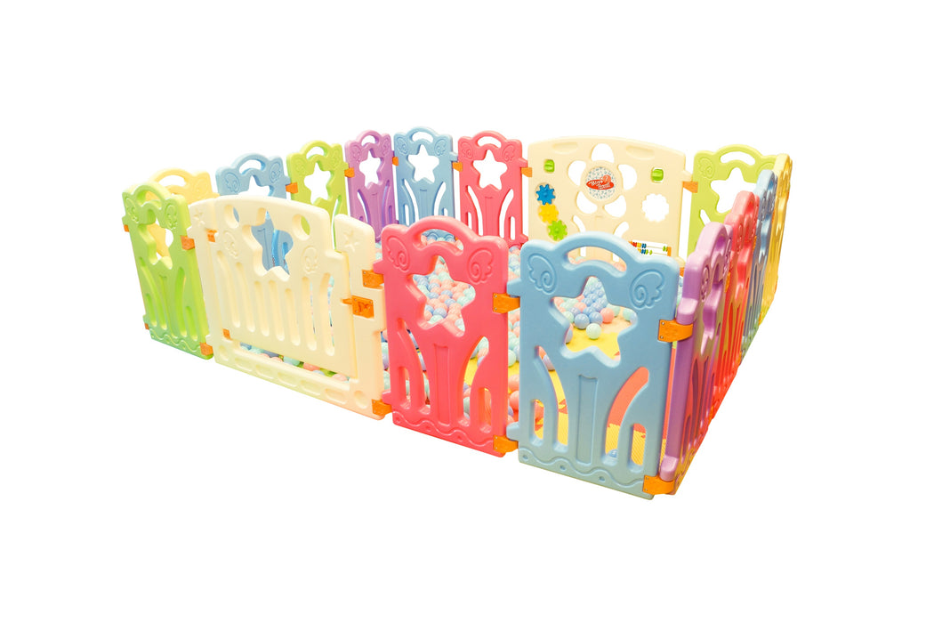 (Star) Baby Playpen Panel: + Door & Toy Gates | Portable Indoor/Outdoor Playpen with Child Safety Fences - Bliss Brands