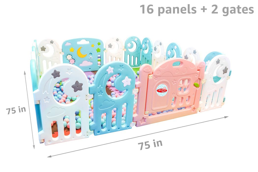 (Moon) Baby Playpen Panel: + Door & Toy Gates | Portable Indoor/Outdoor Playpen with Child Safety Fences - Bliss Brands