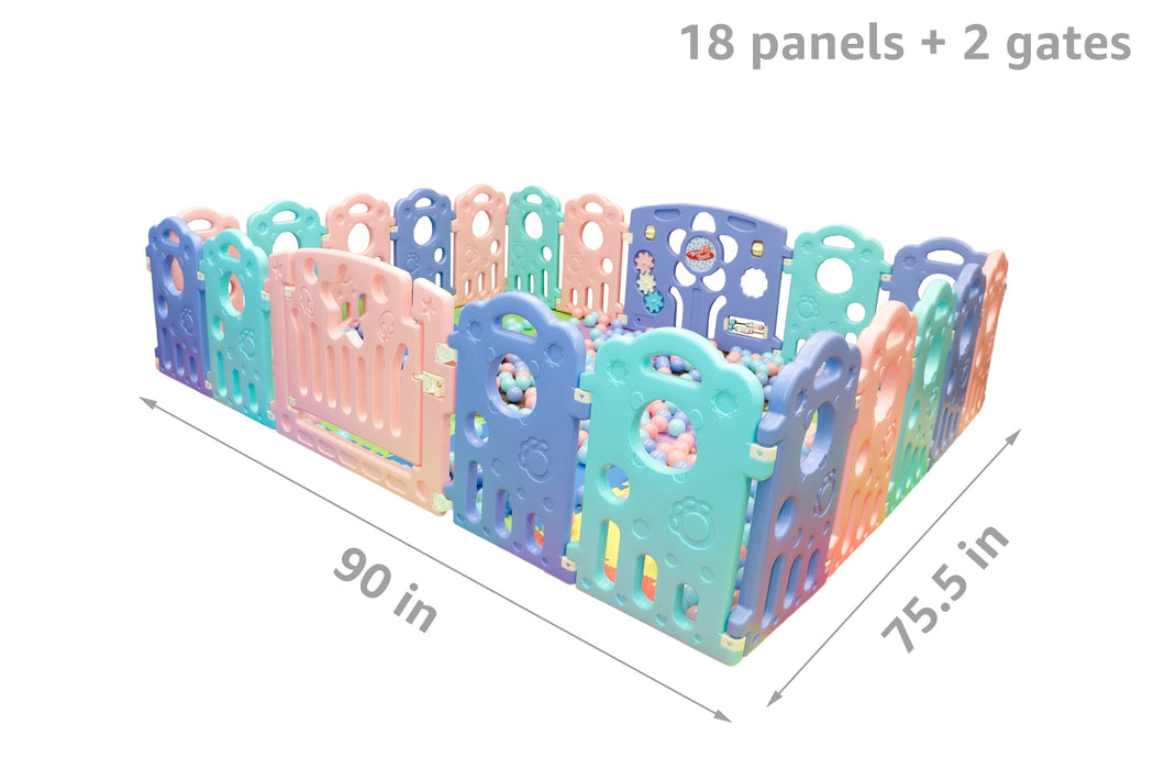 (Bear) Baby Playpen Panel: + Door & Toy Gates | Portable Indoor/Outdoor Playpen with Child Safety Fences - Bliss Brands