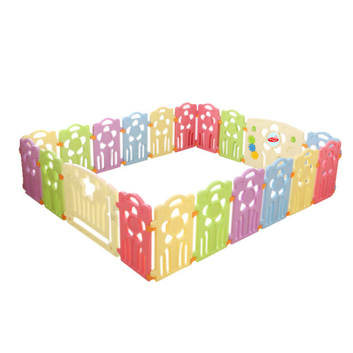 (Flower) Baby Playpen Panel: + Door & Toy Gates | Portable Indoor/Outdoor Playpen with Child Safety Fences - Bliss Brands