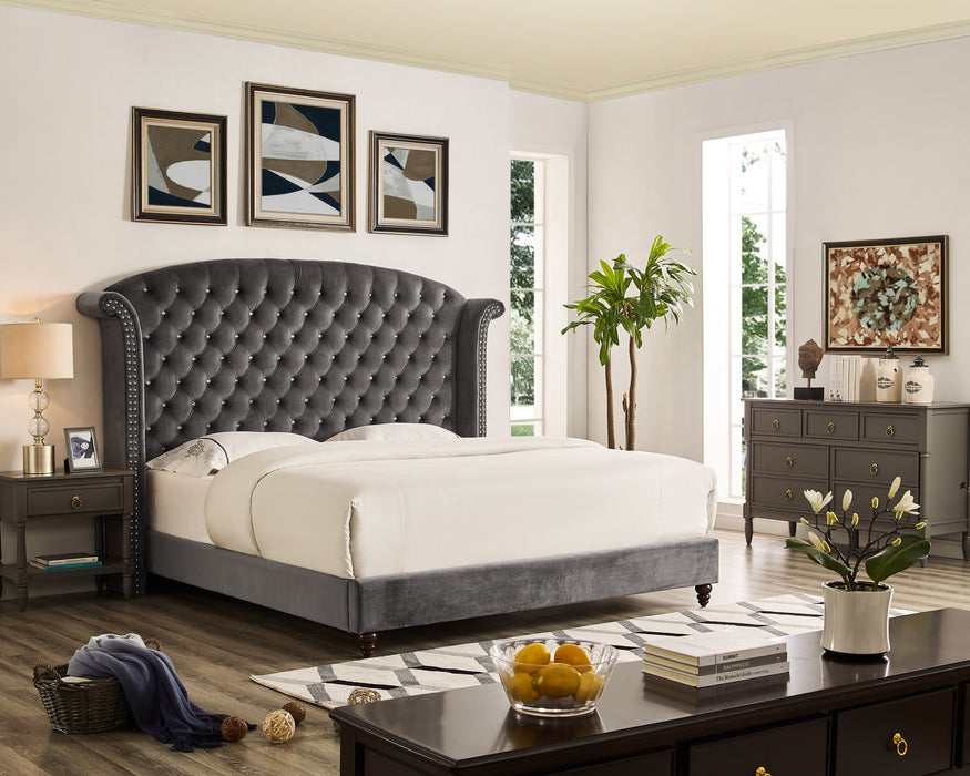 Bliss Brands Bed Frame, Queen/King/CalKing Sized with Tufted Crystal Nailhead Studded Headboard & Velvet Upholstery, 2019 Updated Model - Bliss Brands
