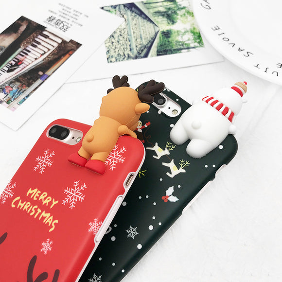 Christmas Deer Snowman Soft TPU iPhone Back Cover Cases