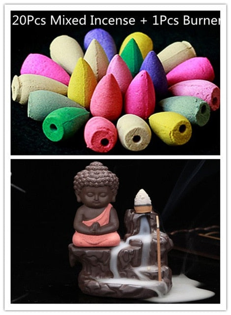 Cute Little Buddha Backflow Incense Burner + 20Pcs Incense Cones
