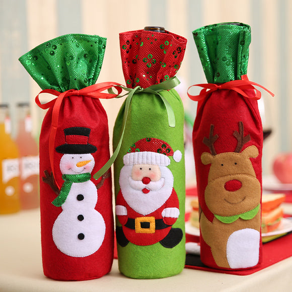 Christmas Santa Claus Snowman Xmas Deer Table Decors Wine Bottle Bags