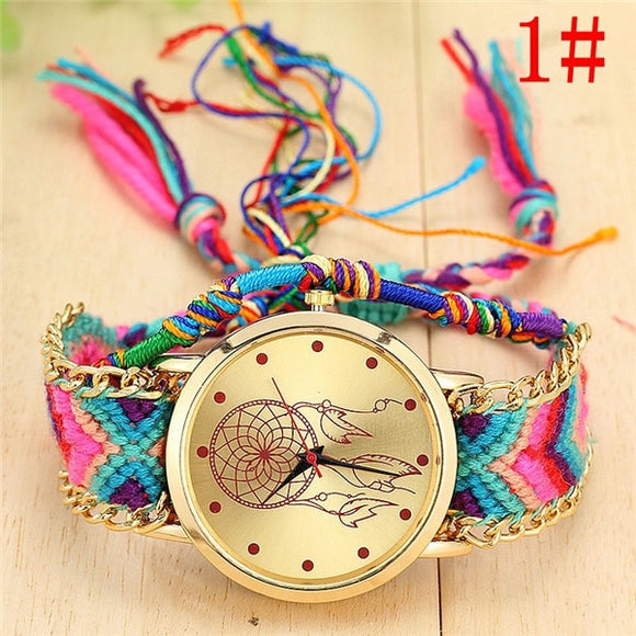 Handmade Braided Multicolor Bracelet Watch