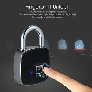 USB Rechargeable Smart Keyless Waterproof Anti-Theft Fingerprint Padlock