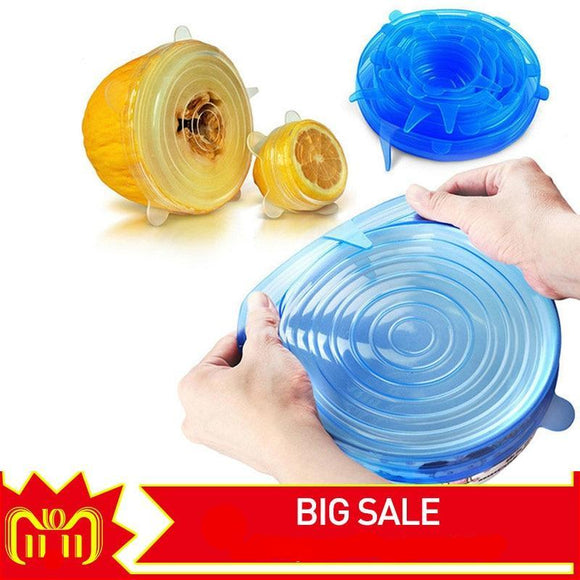 6 PCS Universal Silicone Stretch Lids Vacuum Seal Cover Set