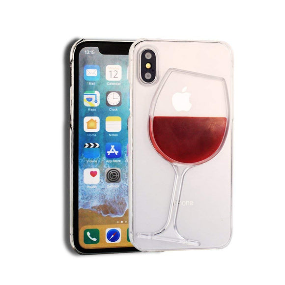 Red Wine Glass Transparent iPhone Hard Case