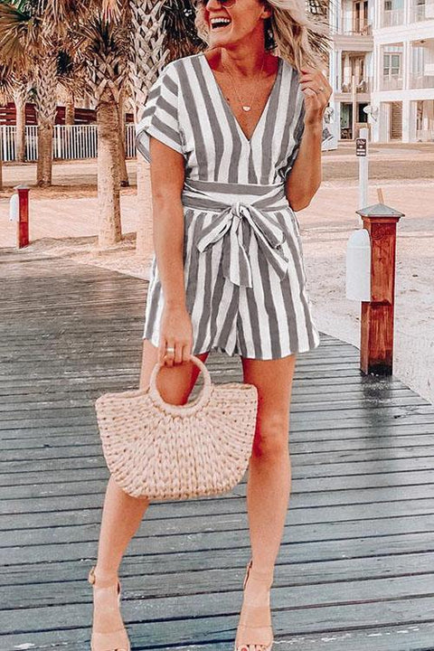 Chaseinstyles Elle Belt Striped Romper
