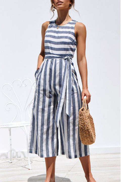 Chaseinstyles Wide Leg Striped Jumpsuit