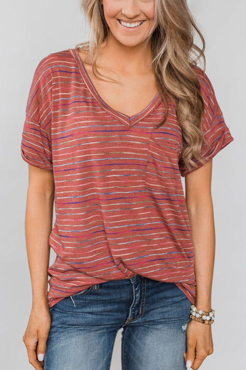 Chaseinstyles Neon Light Striped T-shirt