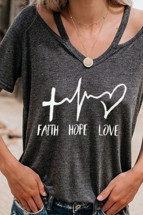Chaseinstyles Faith Hope Love T-shirt