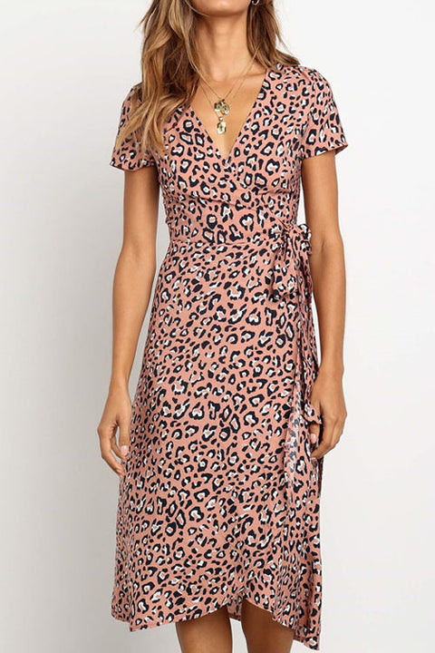 Chaseinstyles Pink Leopard Lace Up Dress