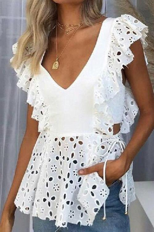 Chaseinstyles Sexy Hollow Lace Blouse Top