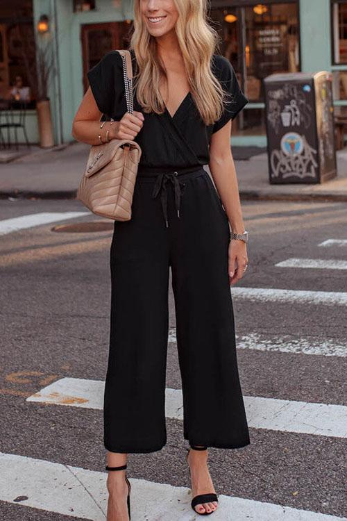 Chaseinstyles Black Rose Lace Up Jumpsuit