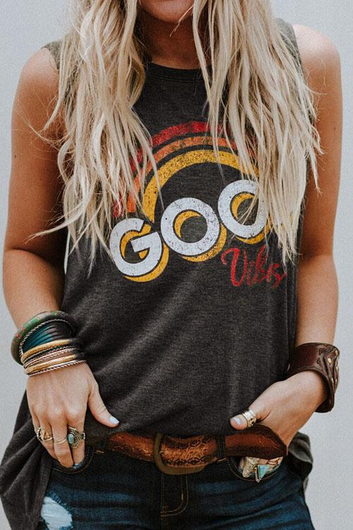 Chaseinstyles Good Vibes Letter Print T-shirt