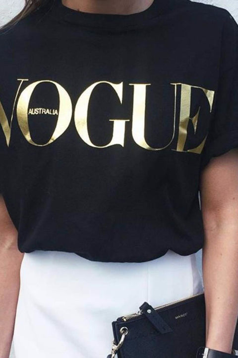 Chaseinstyles Glod Vogue Printed T-shirt