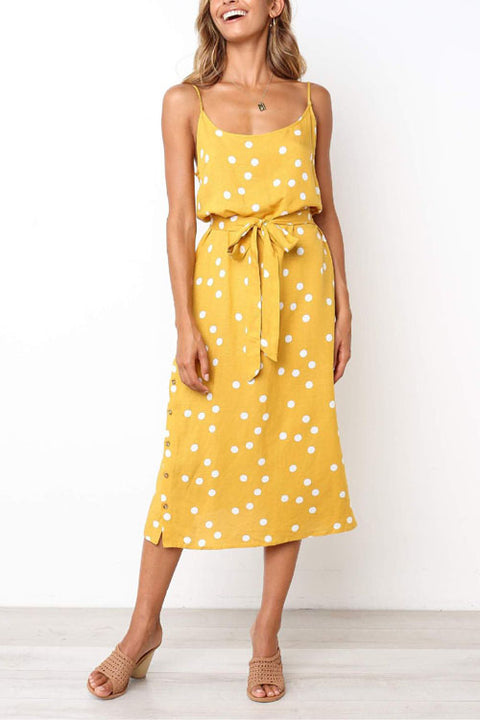 Chaseinstyles Dots Side Slit Button Dress