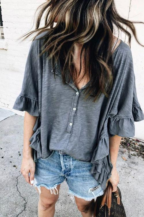 Chaseinstyles Cozy Ruffled Sleeve Blouse Top