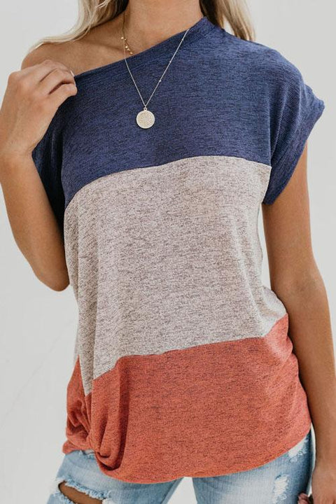 Chaseinstyles Bat Sleeve Colorblock Top T-shirt