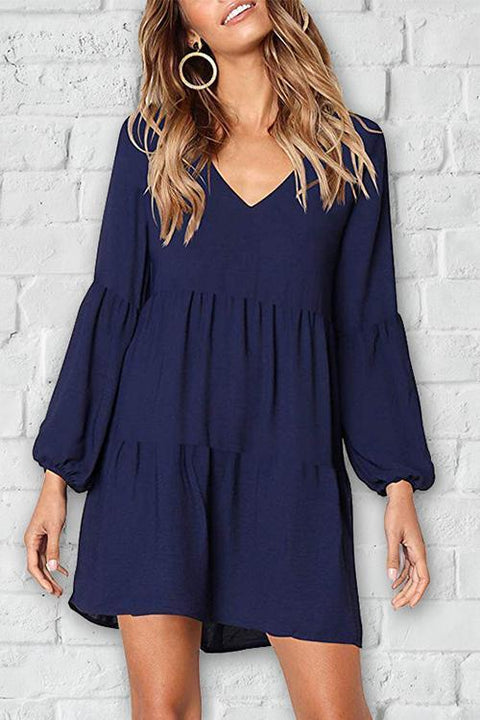 Chaseinstyles Casual V-Neck Cap Sleeve Drape Solid Dark Blue A-Line Mini Dress