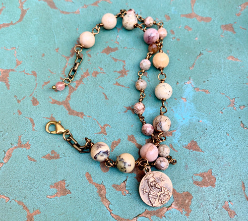 Our Lady of Good Help/St. Gerarde Gemstone Double Bracelet