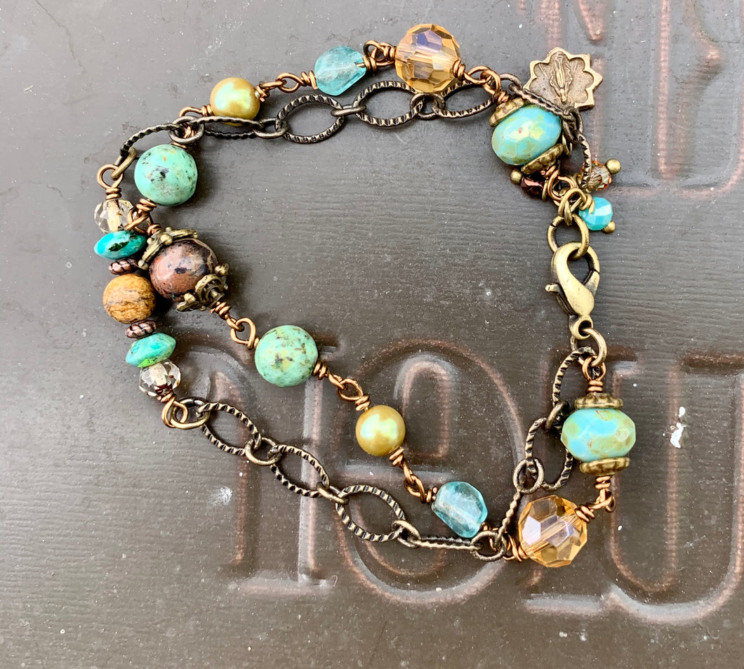Gemstone Double Bracelet with Miraculous Medal