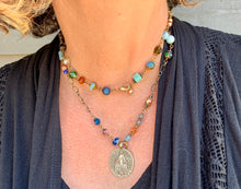 Load image into Gallery viewer, Jewel Tone Double Necklace with Miraculous Medal