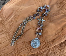 Load image into Gallery viewer, Joan of Arc Cross Botswana Agate Necklace