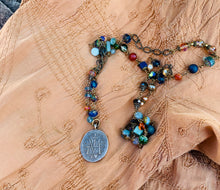 Load image into Gallery viewer, Blue Crystal Marian Rosary