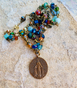 Jewel Tone Double Necklace with Miraculous Medal