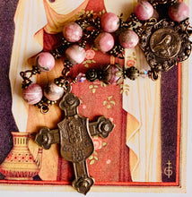 Load image into Gallery viewer, Shower of Roses St. Therese Gemstone Decade Rosary