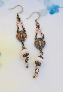 Miraculous Medal Crystal Earrings