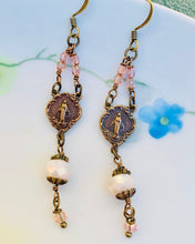 Load image into Gallery viewer, Miraculous Medal Crystal Earrings