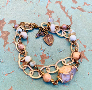 Miraculous Medal Shield Gemstone Bracelet